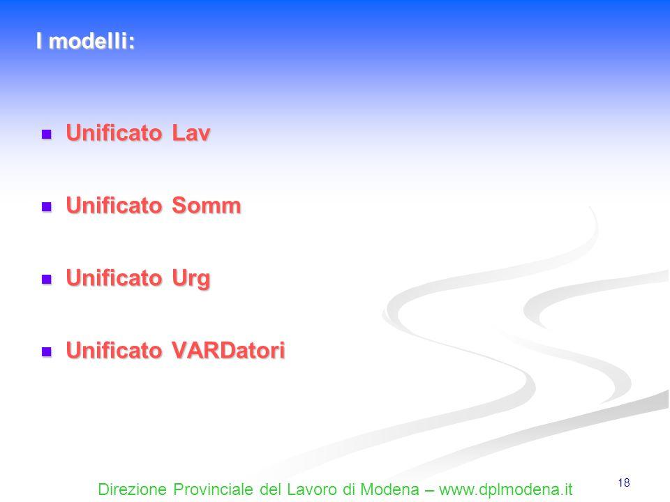 Direzione Provinciale del Lavoro di Modena – www.dplmodena.it 18 Unificato Lav Unificato Lav Unificato Somm Unificato Somm Unificato Urg Unificato Urg
