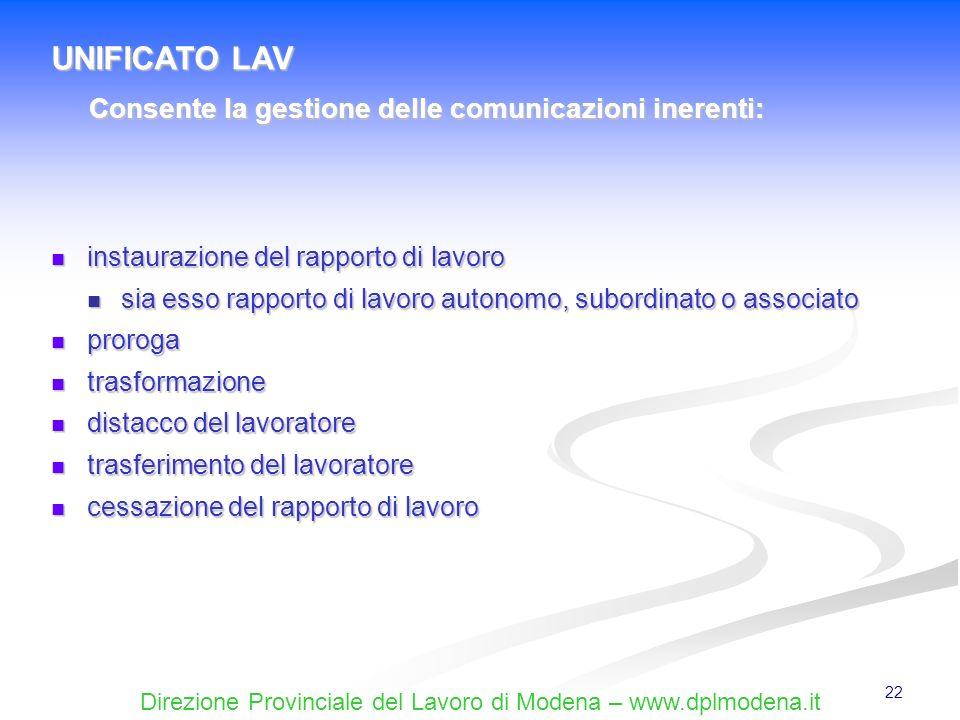 Direzione Provinciale del Lavoro di Modena – www.dplmodena.it 22 instaurazione del rapporto di lavoro instaurazione del rapporto di lavoro sia esso ra