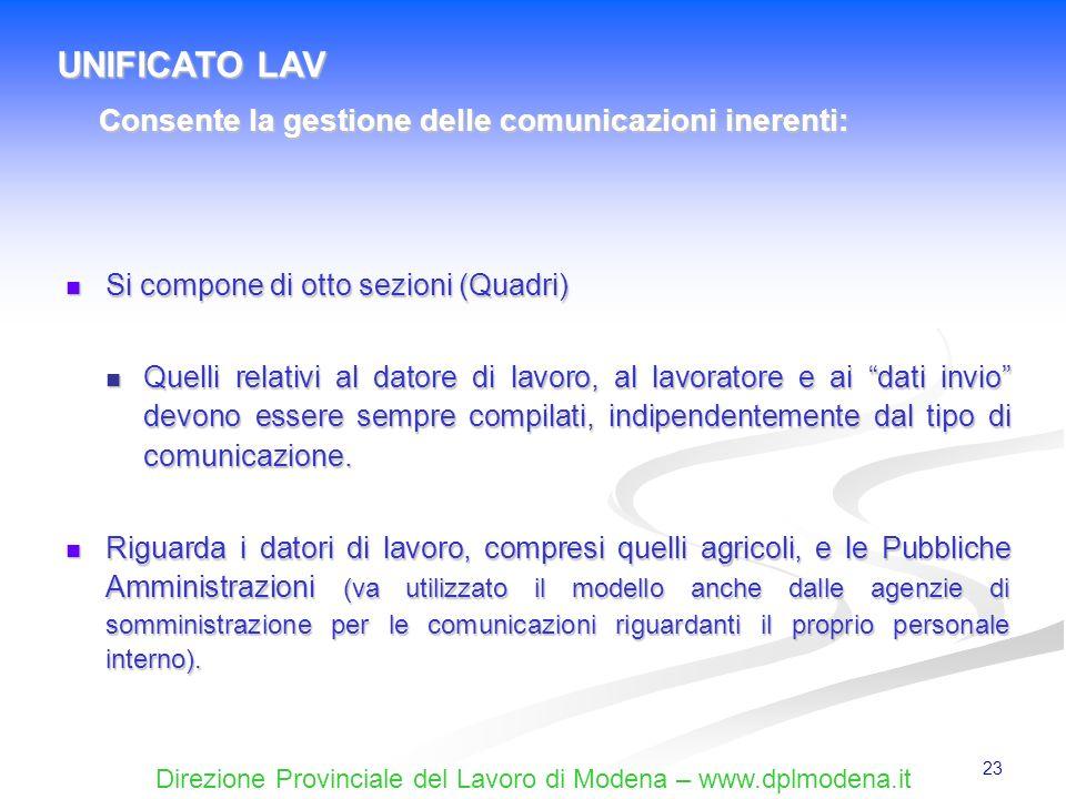 Direzione Provinciale del Lavoro di Modena – www.dplmodena.it 23 Si compone di otto sezioni (Quadri) Si compone di otto sezioni (Quadri) Quelli relati