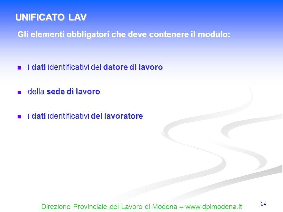Direzione Provinciale del Lavoro di Modena – www.dplmodena.it 24 i dati identificativi del datore di lavoro i dati identificativi del datore di lavoro