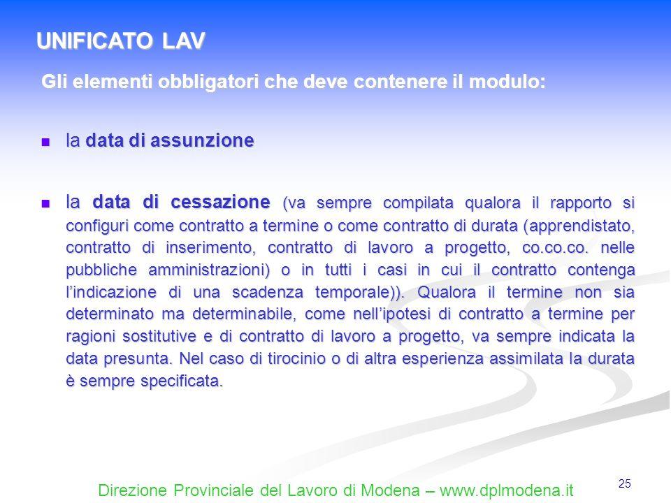 Direzione Provinciale del Lavoro di Modena – www.dplmodena.it 25 la data di assunzione la data di assunzione la data di cessazione (va sempre compilat