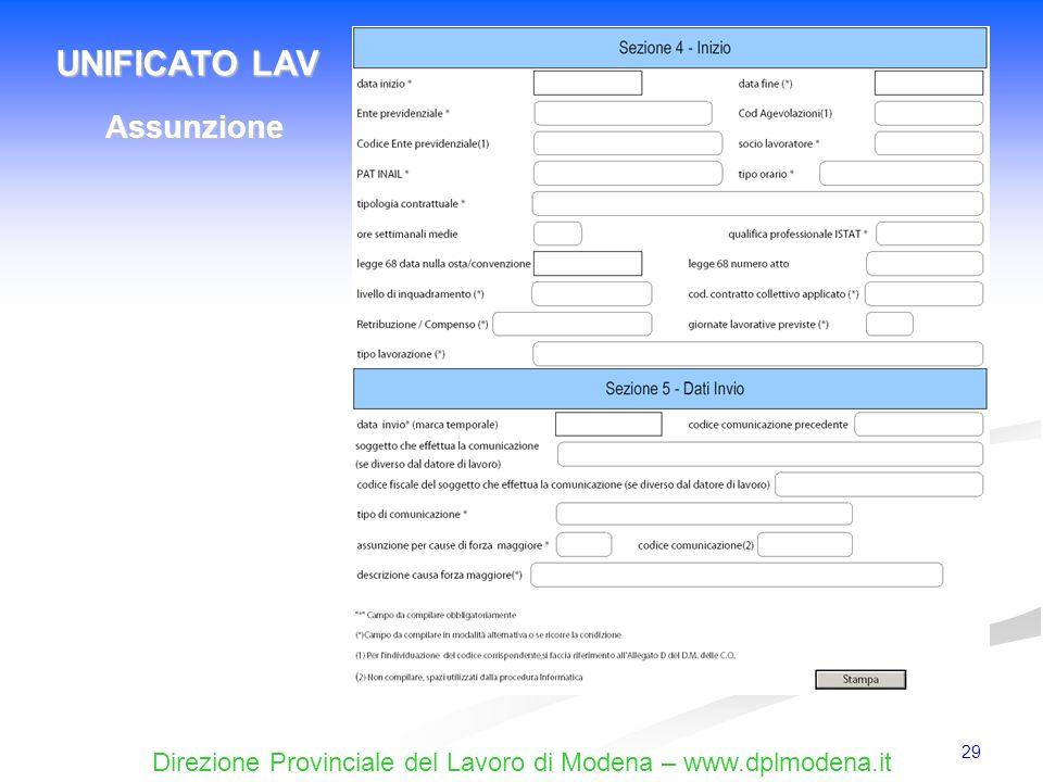 Direzione Provinciale del Lavoro di Modena – www.dplmodena.it 29 UNIFICATO LAV Assunzione