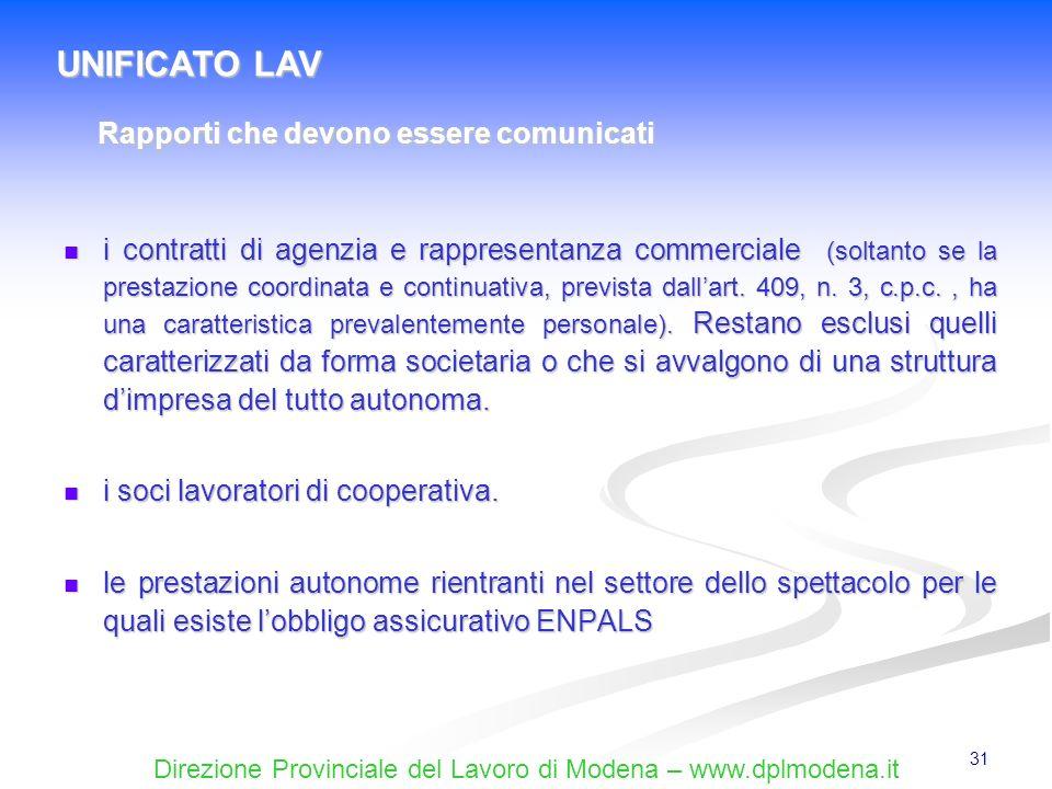 Direzione Provinciale del Lavoro di Modena – www.dplmodena.it 31 i contratti di agenzia e rappresentanza commerciale (soltanto se la prestazione coord