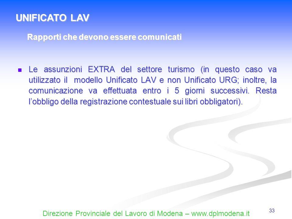Direzione Provinciale del Lavoro di Modena – www.dplmodena.it 33 Le assunzioni EXTRA del settore turismo (in questo caso va utilizzato il modello Unif