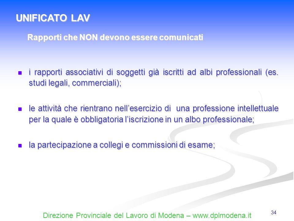 Direzione Provinciale del Lavoro di Modena – www.dplmodena.it 34 i rapporti associativi di soggetti già iscritti ad albi professionali (es. studi lega