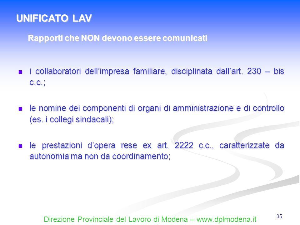 Direzione Provinciale del Lavoro di Modena – www.dplmodena.it 35 i collaboratori dellimpresa familiare, disciplinata dallart. 230 – bis c.c.; i collab