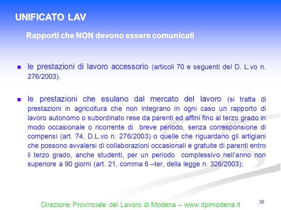 Direzione Provinciale del Lavoro di Modena – www.dplmodena.it 36 le prestazioni di lavoro accessorio (articoli 70 e seguenti del D. L.vo n. 276/2003).