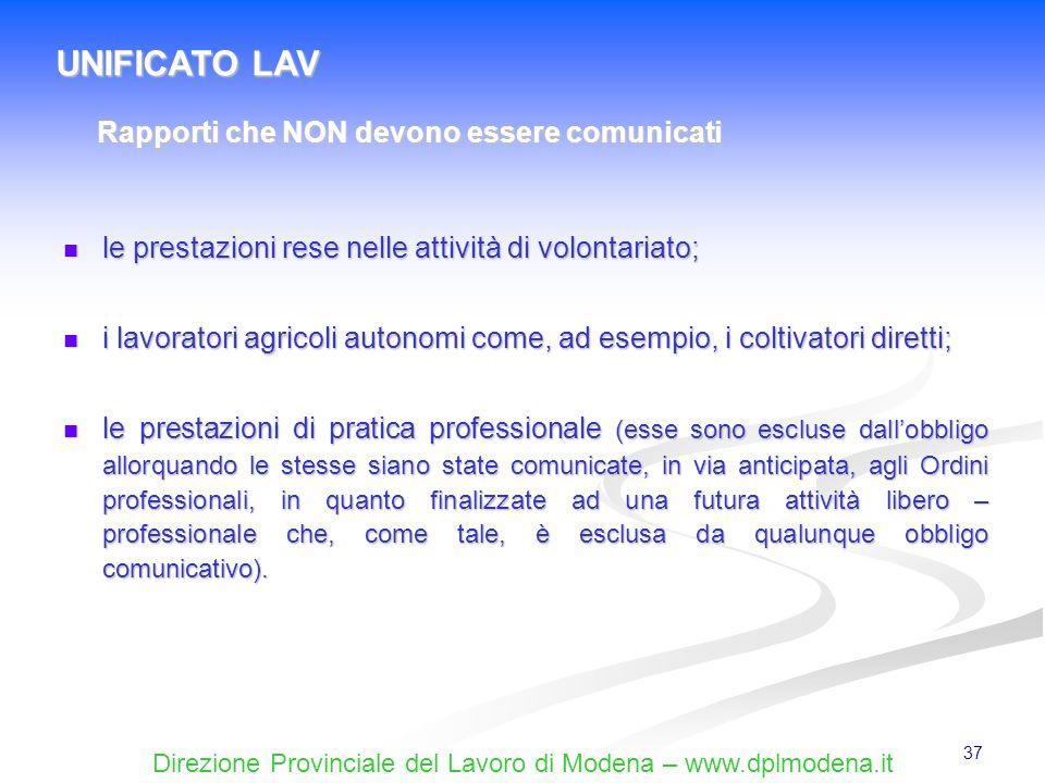 Direzione Provinciale del Lavoro di Modena – www.dplmodena.it 37 le prestazioni rese nelle attività di volontariato; le prestazioni rese nelle attivit