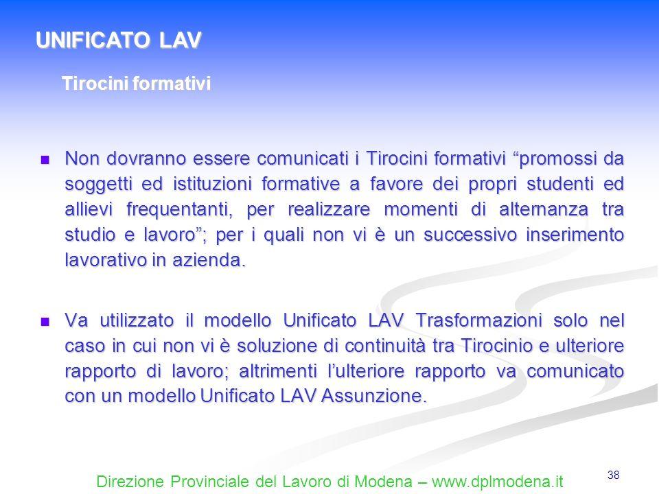 Direzione Provinciale del Lavoro di Modena – www.dplmodena.it 38 Non dovranno essere comunicati i Tirocini formativi promossi da soggetti ed istituzio