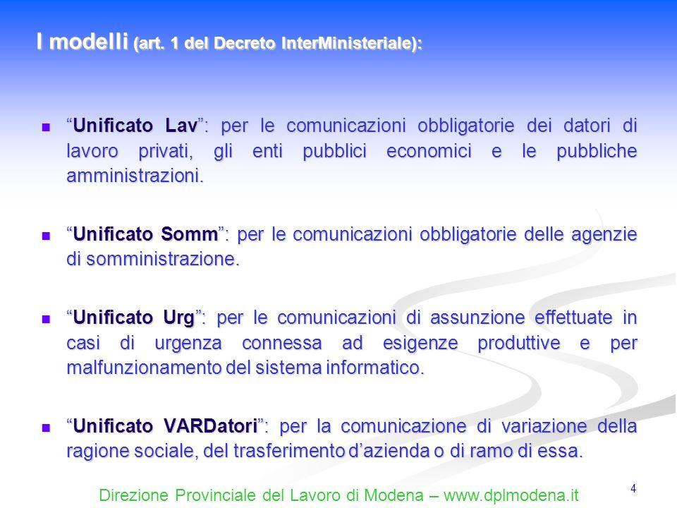 Direzione Provinciale del Lavoro di Modena – www.dplmodena.it 55 Viene utilizzato per adempiere agli obblighi di comunicazione nelle ipotesi, riconosciute dalla normativa, di assunzione durgenza connessa ad esigenze produttive (il modello non può essere utilizzato dalle agenzie di somministrazione).