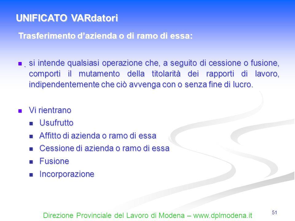 Direzione Provinciale del Lavoro di Modena – www.dplmodena.it 51 si intende qualsiasi operazione che, a seguito di cessione o fusione, comporti il mut