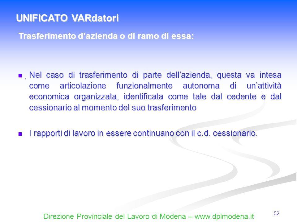 Direzione Provinciale del Lavoro di Modena – www.dplmodena.it 52 Nel caso di trasferimento di parte dellazienda, questa va intesa come articolazione f