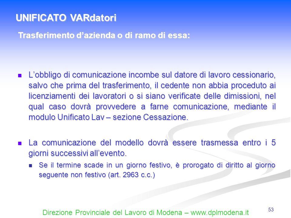 Direzione Provinciale del Lavoro di Modena – www.dplmodena.it 53 Lobbligo di comunicazione incombe sul datore di lavoro cessionario, salvo che prima d