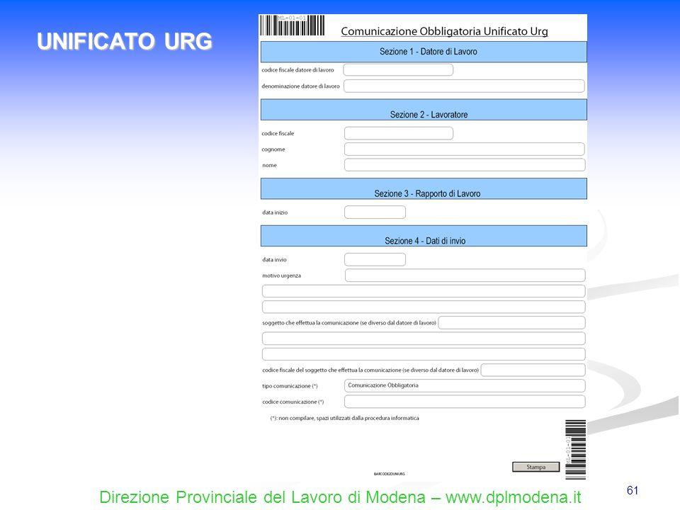 Direzione Provinciale del Lavoro di Modena – www.dplmodena.it 61 UNIFICATO URG