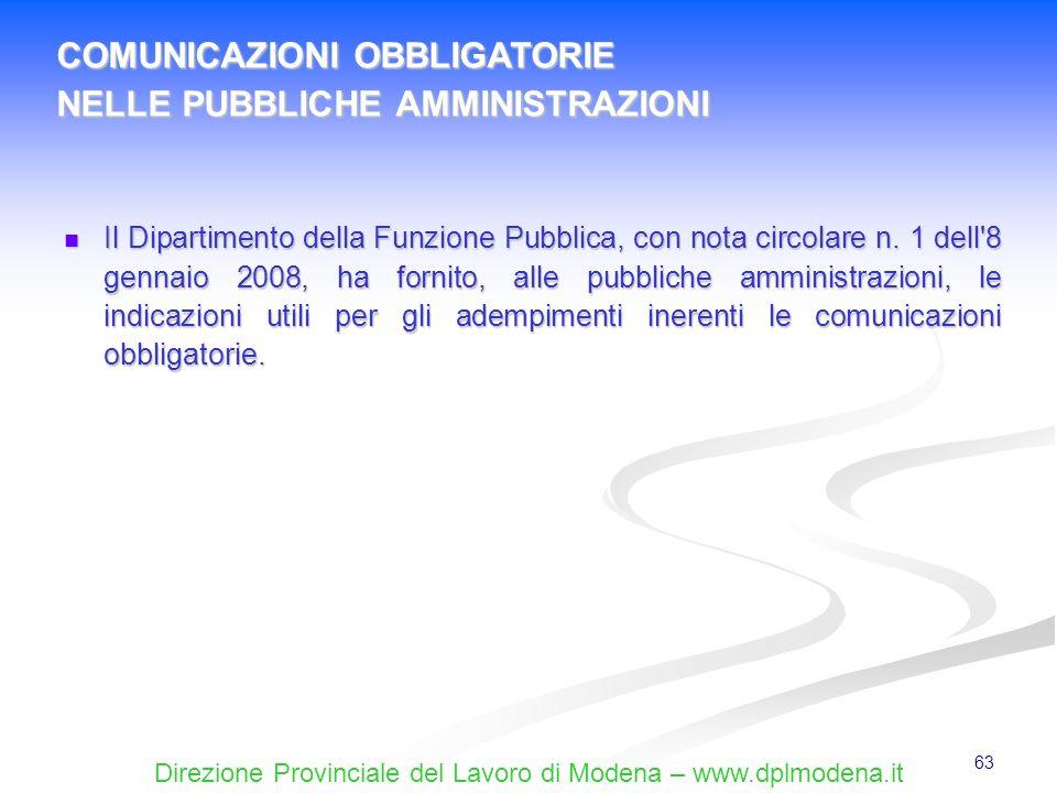 Direzione Provinciale del Lavoro di Modena – www.dplmodena.it 63 Il Dipartimento della Funzione Pubblica, con nota circolare n. 1 dell'8 gennaio 2008,