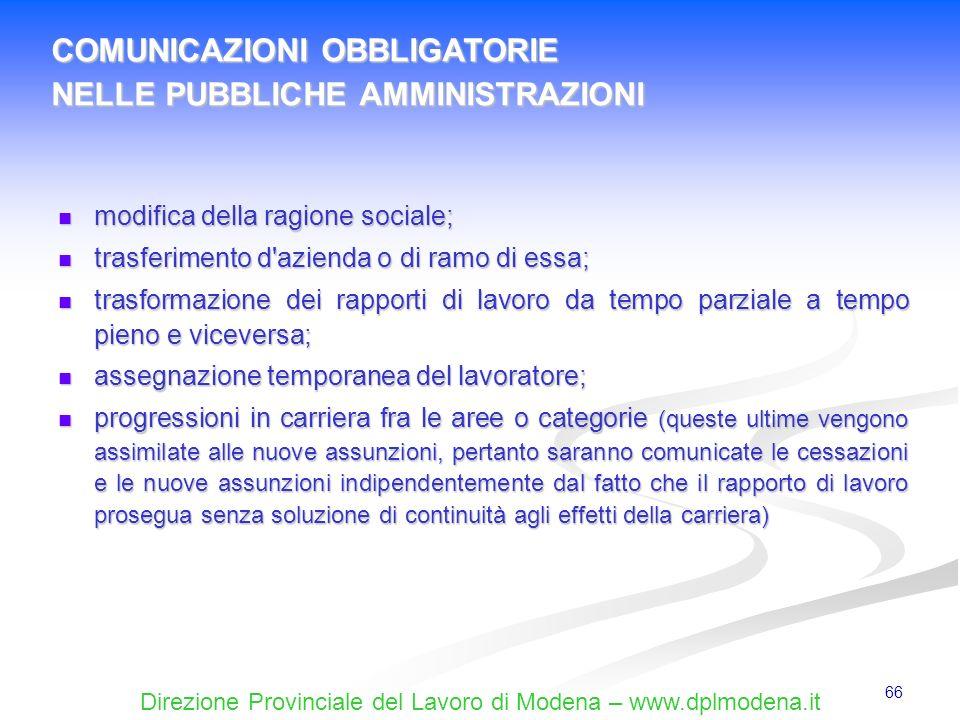 Direzione Provinciale del Lavoro di Modena – www.dplmodena.it 66 modifica della ragione sociale; modifica della ragione sociale; trasferimento d'azien
