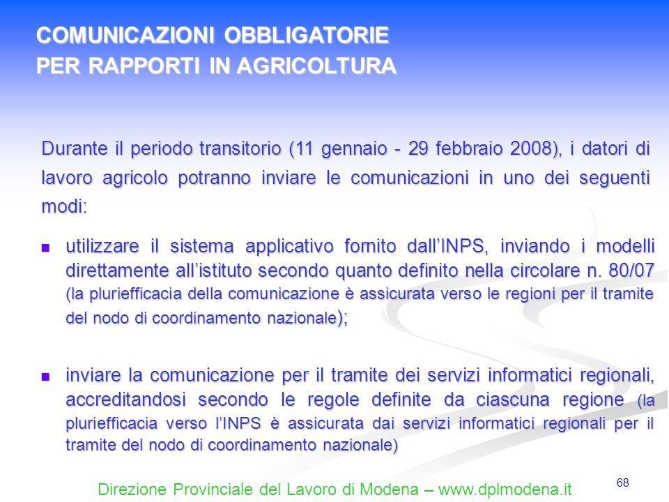 Direzione Provinciale del Lavoro di Modena – www.dplmodena.it 68 utilizzare il sistema applicativo fornito dallINPS, inviando i modelli direttamente a