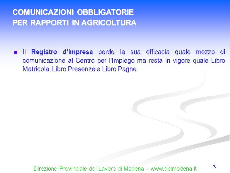 Direzione Provinciale del Lavoro di Modena – www.dplmodena.it 70 Il Registro dimpresa perde la sua efficacia quale mezzo di comunicazione al Centro pe