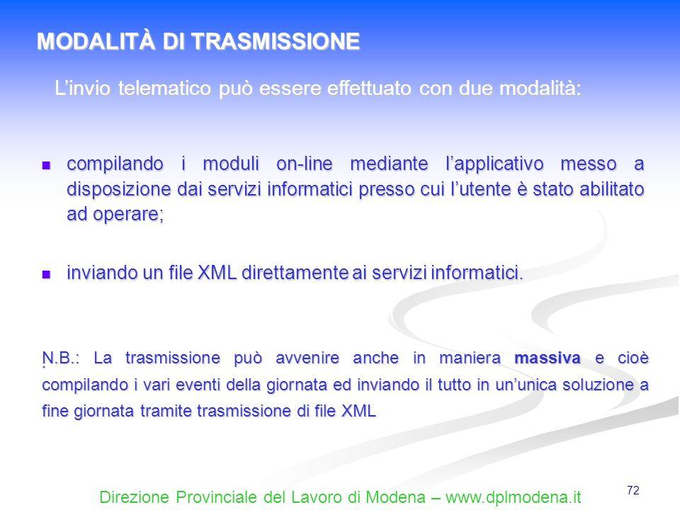 Direzione Provinciale del Lavoro di Modena – www.dplmodena.it 72 compilando i moduli on-line mediante lapplicativo messo a disposizione dai servizi in