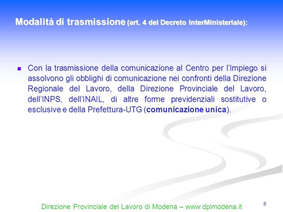 Direzione Provinciale del Lavoro di Modena – www.dplmodena.it 8 Con la trasmissione della comunicazione al Centro per lImpiego si assolvono gli obblig