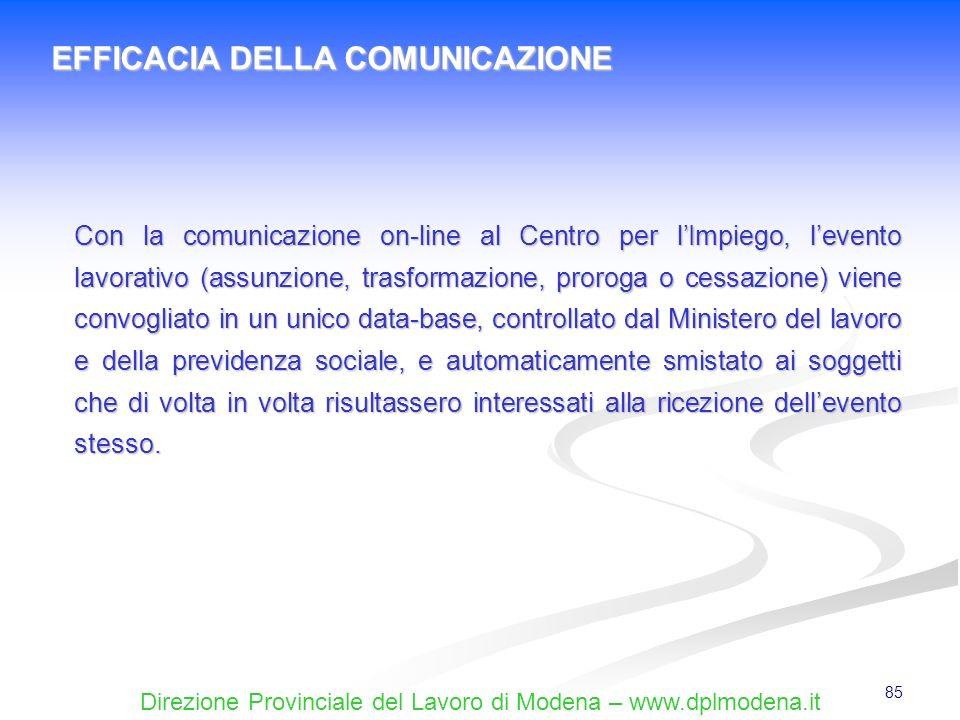 Direzione Provinciale del Lavoro di Modena – www.dplmodena.it 85 EFFICACIA DELLA COMUNICAZIONE Con la comunicazione on-line al Centro per lImpiego, le