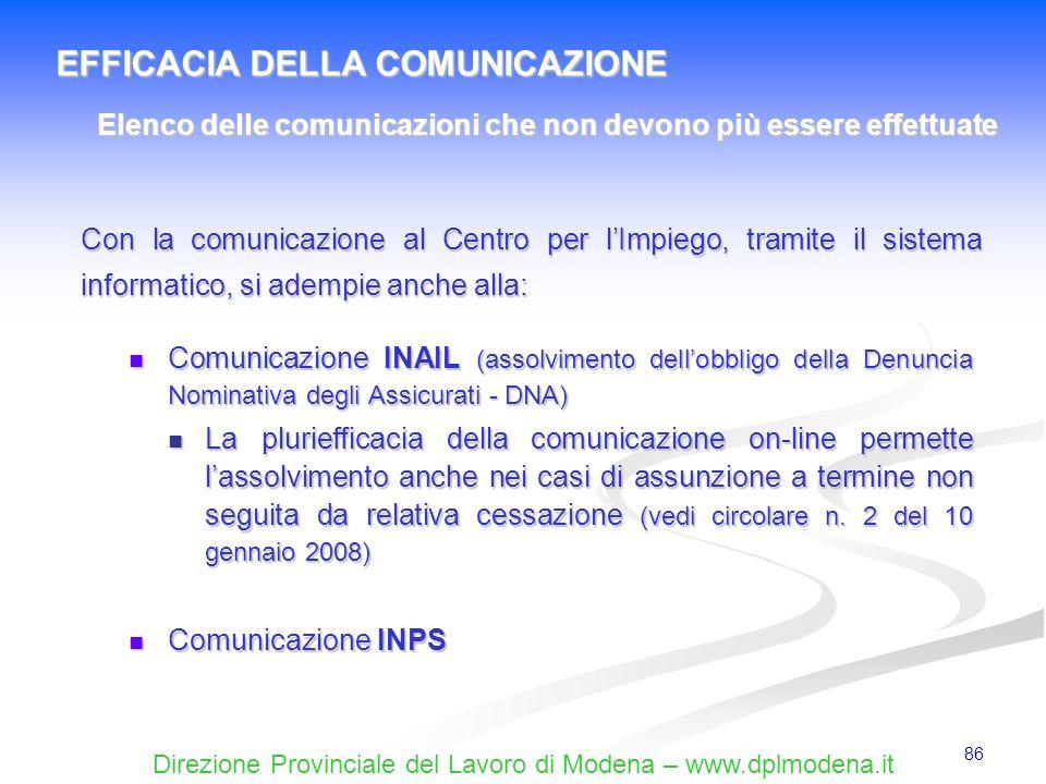 Direzione Provinciale del Lavoro di Modena – www.dplmodena.it 86 Comunicazione INAIL (assolvimento dellobbligo della Denuncia Nominativa degli Assicur
