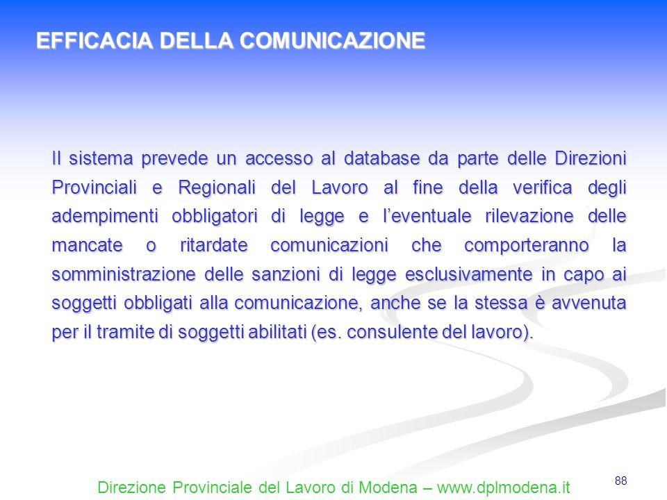 Direzione Provinciale del Lavoro di Modena – www.dplmodena.it 88 EFFICACIA DELLA COMUNICAZIONE Il sistema prevede un accesso al database da parte dell