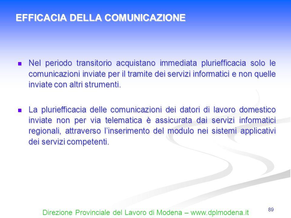 Direzione Provinciale del Lavoro di Modena – www.dplmodena.it 89 Nel periodo transitorio acquistano immediata pluriefficacia solo le comunicazioni inv