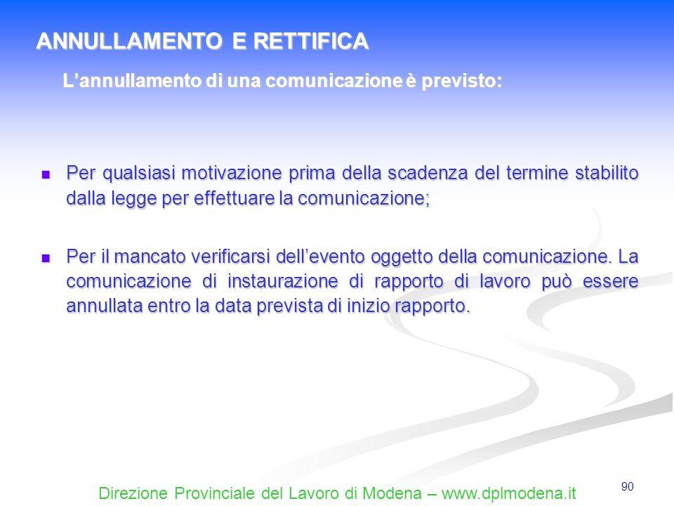 Direzione Provinciale del Lavoro di Modena – www.dplmodena.it 90 Per qualsiasi motivazione prima della scadenza del termine stabilito dalla legge per
