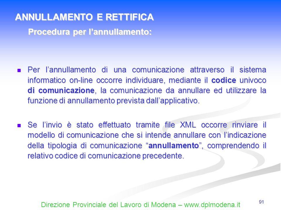 Direzione Provinciale del Lavoro di Modena – www.dplmodena.it 91 Per lannullamento di una comunicazione attraverso il sistema informatico on-line occo
