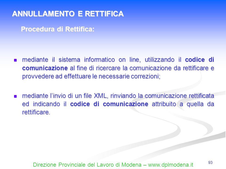 Direzione Provinciale del Lavoro di Modena – www.dplmodena.it 93 mediante il sistema informatico on line, utilizzando il codice di comunicazione al fi