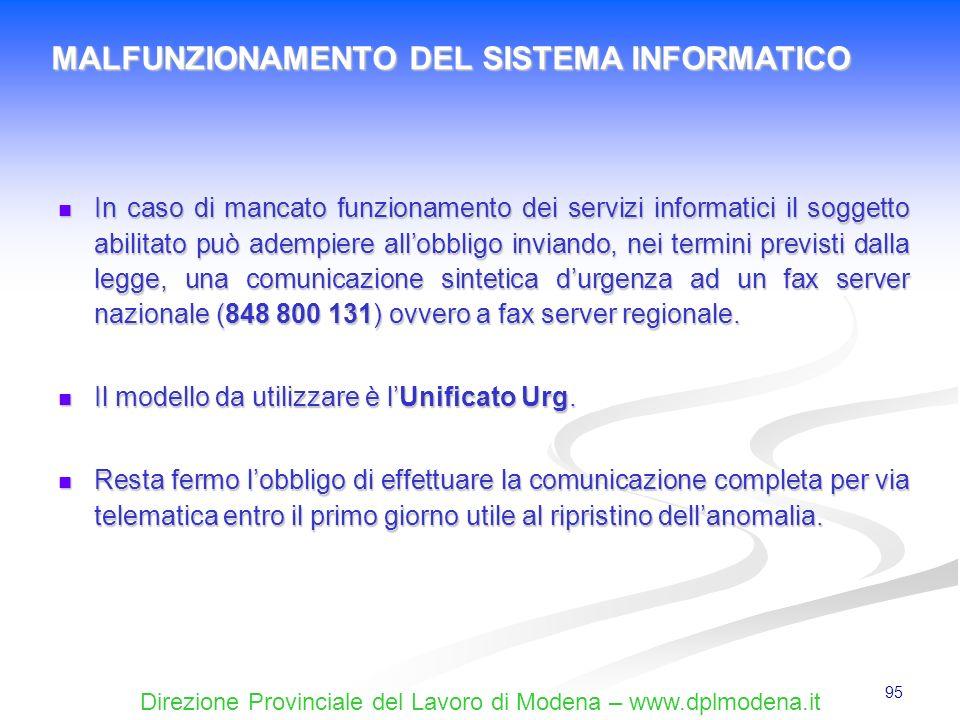 Direzione Provinciale del Lavoro di Modena – www.dplmodena.it 95 In caso di mancato funzionamento dei servizi informatici il soggetto abilitato può ad