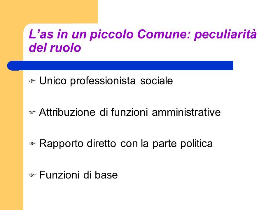 Las in un piccolo Comune: peculiarità del ruolo Unico professionista sociale Attribuzione di funzioni amministrative Rapporto diretto con la parte pol