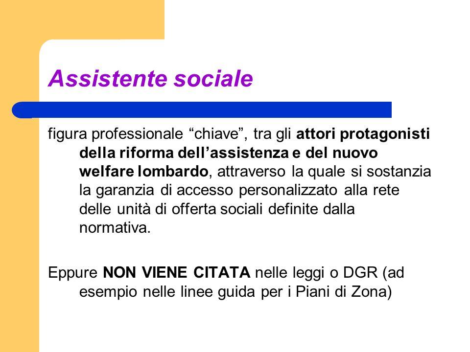 Assistente sociale figura professionale chiave, tra gli attori protagonisti della riforma dellassistenza e del nuovo welfare lombardo, attraverso la q