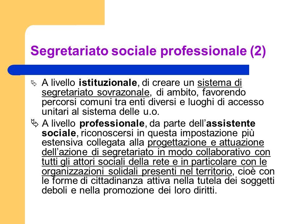 Segretariato sociale professionale (2) A livello istituzionale, di creare un sistema di segretariato sovrazonale, di ambito, favorendo percorsi comuni