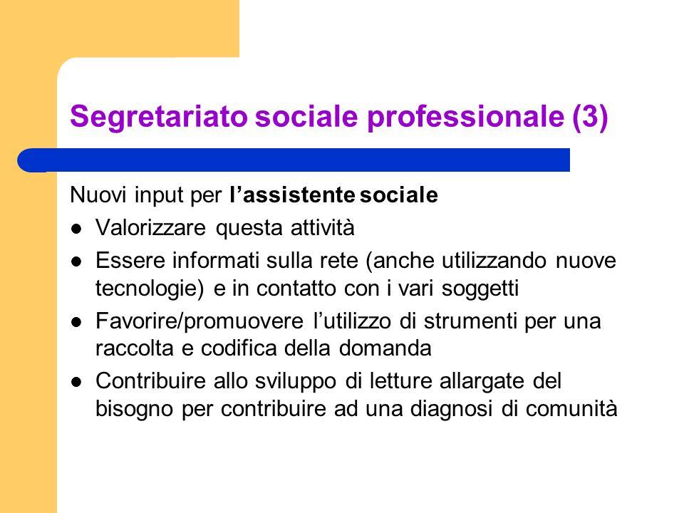 Segretariato sociale professionale (3) Nuovi input per lassistente sociale Valorizzare questa attività Essere informati sulla rete (anche utilizzando