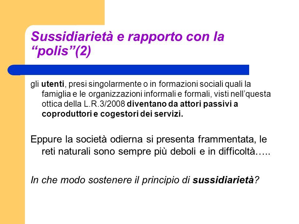 Sussidiarietà e rapporto con la polis(2) gli utenti, presi singolarmente o in formazioni sociali quali la famiglia e le organizzazioni informali e for