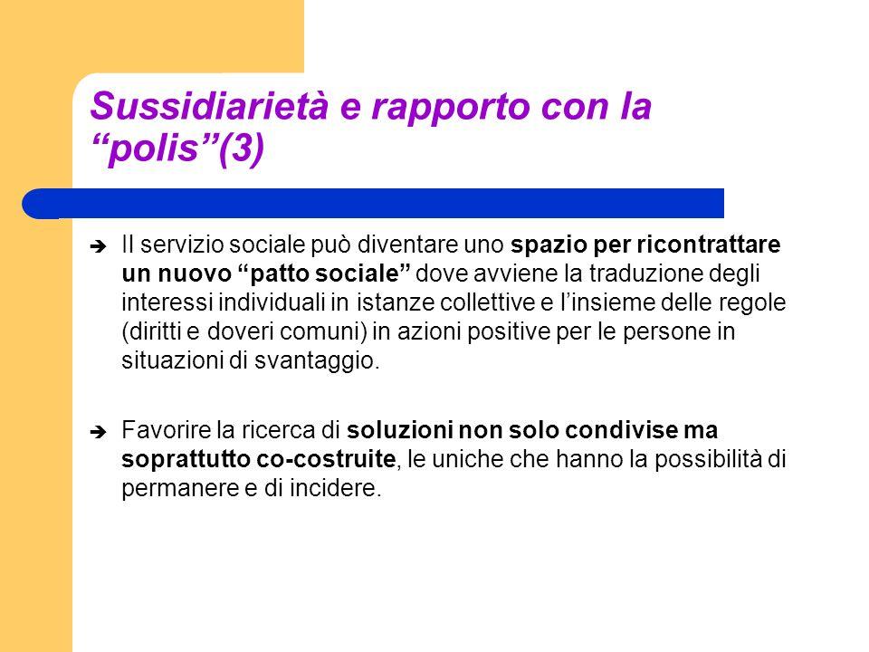 Sussidiarietà e rapporto con la polis(3) Il servizio sociale può diventare uno spazio per ricontrattare un nuovo patto sociale dove avviene la traduzi