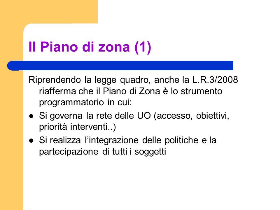 Il Piano di zona (1) Riprendendo la legge quadro, anche la L.R.3/2008 riafferma che il Piano di Zona è lo strumento programmatorio in cui: Si governa