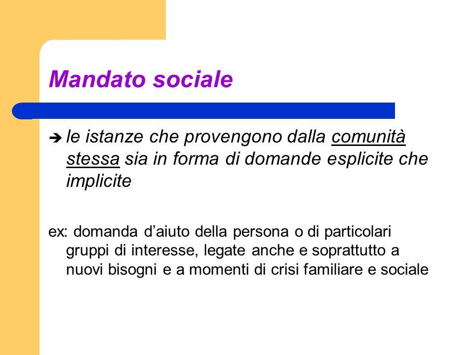 Mandato sociale le istanze che provengono dalla comunità stessa sia in forma di domande esplicite che implicite ex: domanda daiuto della persona o di