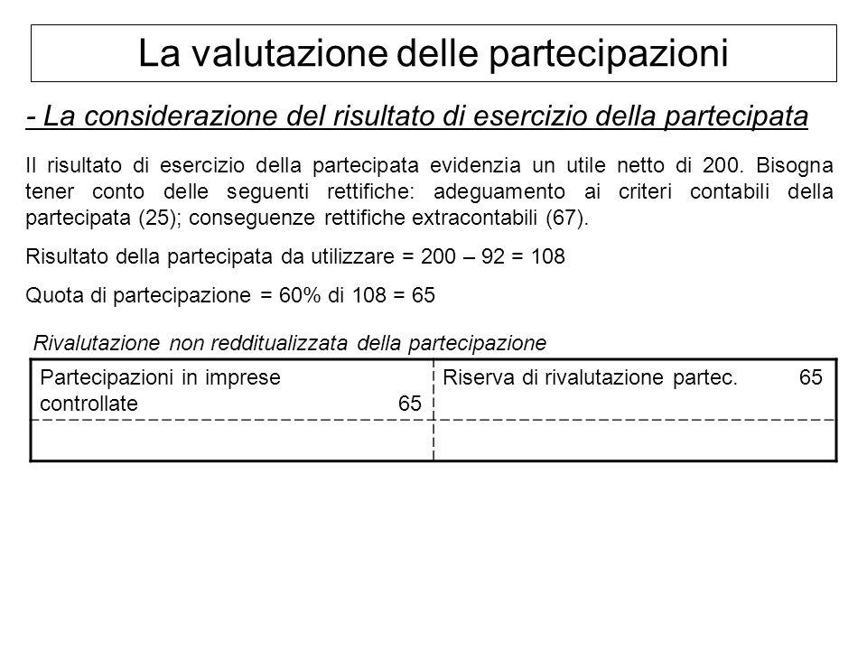 La valutazione delle partecipazioni - La considerazione del risultato di esercizio della partecipata Il risultato di esercizio della partecipata evide