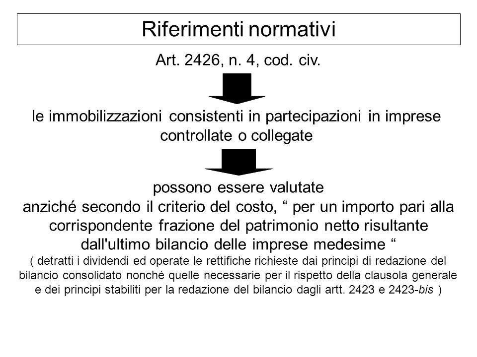 Riferimenti normativi Art. 2426, n. 4, cod. civ. le immobilizzazioni consistenti in partecipazioni in imprese controllate o collegate possono essere v