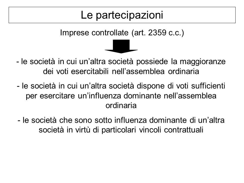 Le partecipazioni Imprese controllate (art. 2359 c.c.) - le società in cui unaltra società possiede la maggioranze dei voti esercitabili nellassemblea