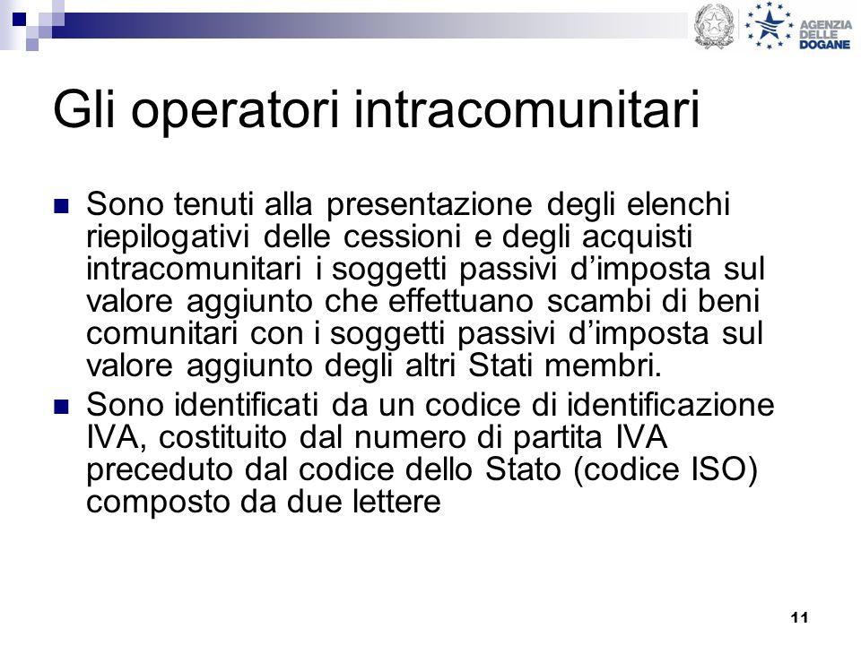 11 Gli operatori intracomunitari Sono tenuti alla presentazione degli elenchi riepilogativi delle cessioni e degli acquisti intracomunitari i soggetti