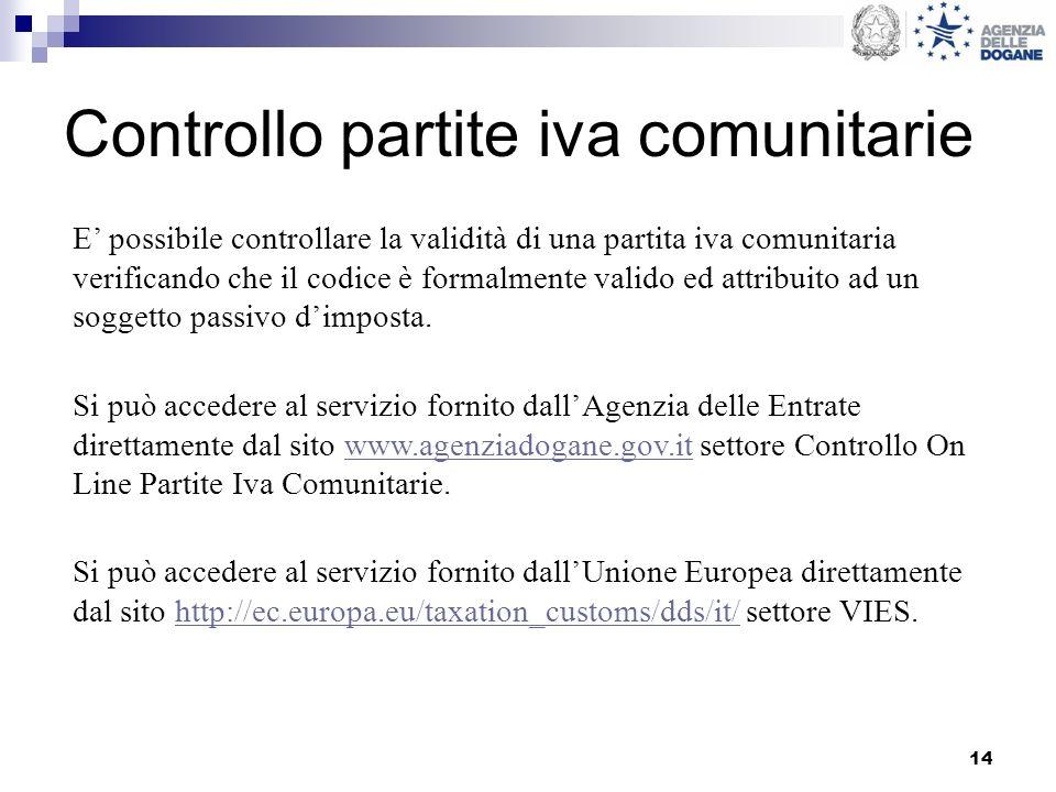 14 Controllo partite iva comunitarie Si può accedere al servizio fornito dallAgenzia delle Entrate direttamente dal sito www.agenziadogane.gov.it sett