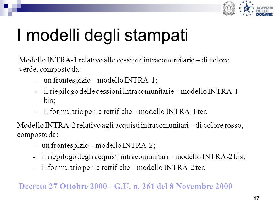 17 I modelli degli stampati Modello INTRA-2 relativo agli acquisti intracomunitari – di colore rosso, composto da: -un frontespizio – modello INTRA-2;