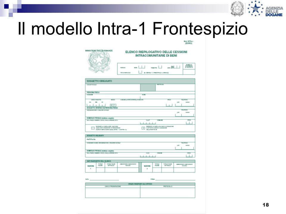 18 Il modello Intra-1 Frontespizio