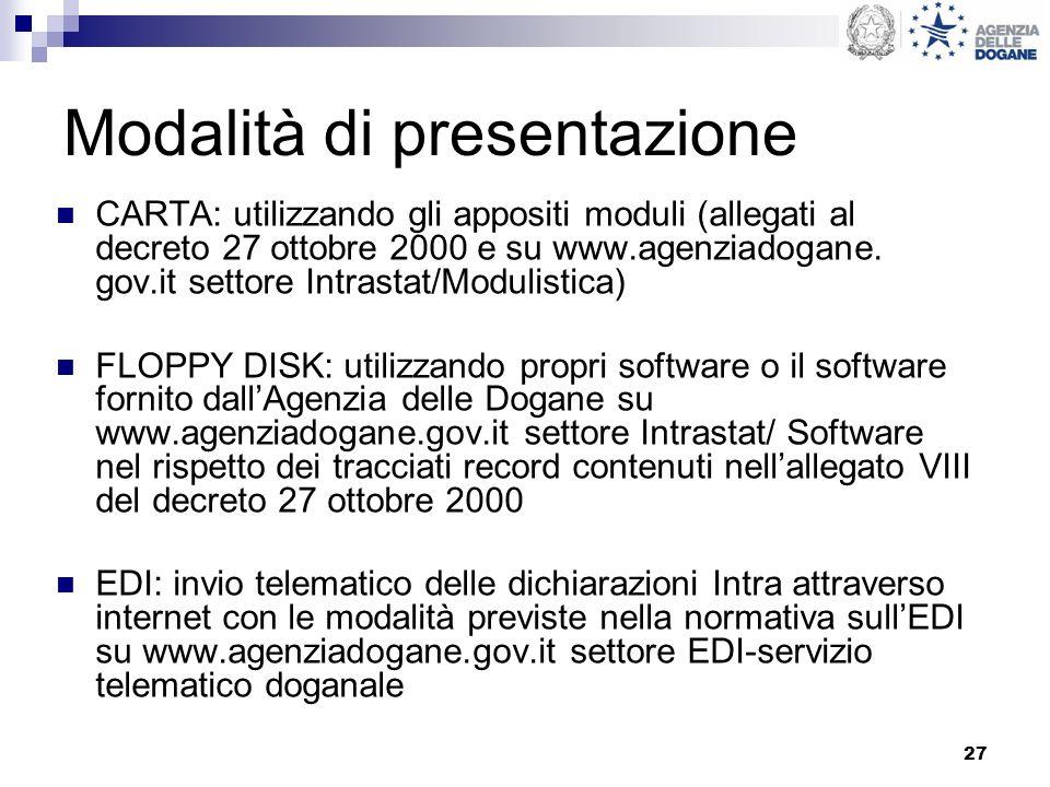 27 Modalità di presentazione CARTA: utilizzando gli appositi moduli (allegati al decreto 27 ottobre 2000 e su www.agenziadogane. gov.it settore Intras