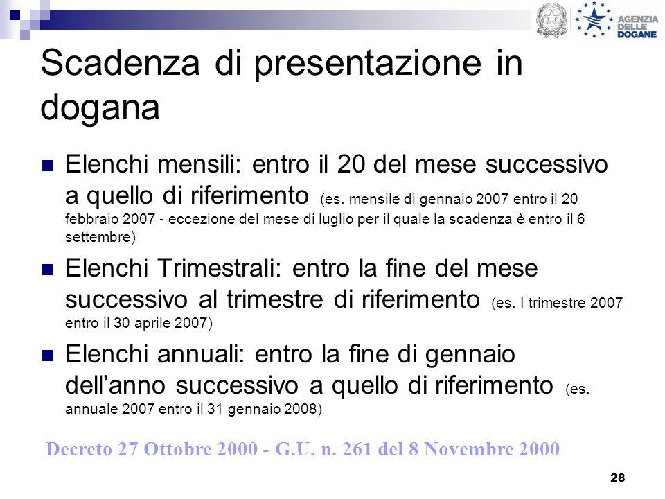 28 Scadenza di presentazione in dogana Elenchi mensili: entro il 20 del mese successivo a quello di riferimento (es. mensile di gennaio 2007 entro il