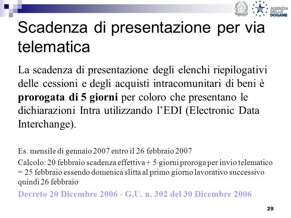 29 Scadenza di presentazione per via telematica La scadenza di presentazione degli elenchi riepilogativi delle cessioni e degli acquisti intracomunita
